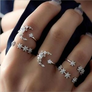 5 pc Moon Star Boho Bohemian Midi Finger Rings
